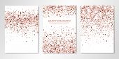 Banners Set With Nude Confetti On White. Vector Flyer Design Templates For Wedding, Invitation Cards poster