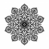 Mandala Tattoo Design Element. Round Ornament Decoration. Line Flower Pattern. Stylized Floral Motif poster