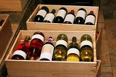 pic of wine bottle  - Red and white wine in bottles in wine shop - JPG