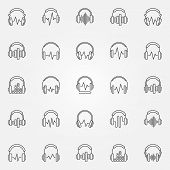 Headphones With Sound Wave Icons Set. Vector Headphone With Equalizer Concept Symbols In Thin Line S poster