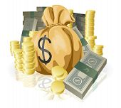 stock photo of sack dollar  - Piles of money in the form of cash and gold coins with big money sack - JPG