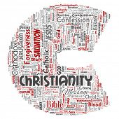 Conceptual christianity, jesus, bible, testament letter font C red  word cloud isolated background.  poster