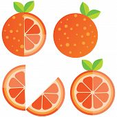 Oranges Orange Slice, Half Cut Orange And Front View Of Cut Ripe Orange. Set Of Vector Illustration. poster
