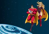 Full Length Illustration Of Happy Super Dad And Super Mom With Super Baby, Flying In The Outer Space poster