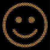 Halftone Hexagonal Glad Smiley Icon. Bright Golden Pictogram With Honeycomb Geometric Structure On A poster