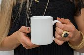 Womans Hands Holding A White Mug, Perfect For Displaying Your Quote, Design On Mugs You Sell. poster