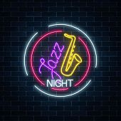 Neon Jazz Cafe With Saxophone Glowing Sign In Circle Frame On A Dark Brick Wall Background. Glowing  poster