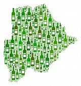 Постер, плакат: Botswana Map Mosaic Of Alcohol Bottles And Circle Bubbles In Various Sizes And Green Color Shades A