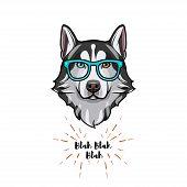 Siberian Husky Geek. Smart Glasses. Dog Nerd. Husky Portrait. Vector Illustration. poster