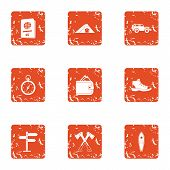 Journeying Icons Set. Grunge Set Of 9 Journeying Vector Icons For Web Isolated On White Background poster