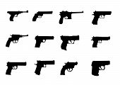 stock photo of glock  - set silhouette of miscellaneous pistols and revolver - JPG
