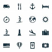 Journey Icons Set With Aircraft, Skier, Monument And Other Camera Elements. Isolated Vector Illustra poster