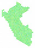 Green Peru Map. Vector Hex-tile Geographic Map Drawn With Green Color Variations. Abstract Peru Map  poster