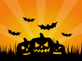 foto of jack-o-laterns-jack-o-latern  - Spooky Halloween Background with Pumpkins and Bats - JPG