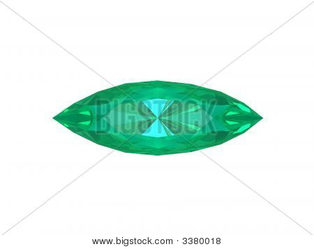 Emerald Oval Isolated On White Background