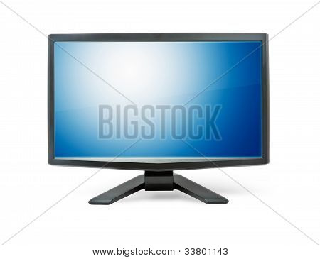 Computer Monitor With Blue Flat Wide Screen