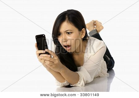 Asian Woman Shock See Her Cellphone
