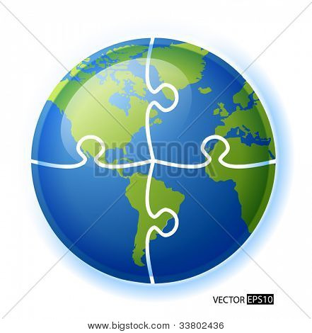 Puzzle circle globe vector illustration. Each piece is editable.