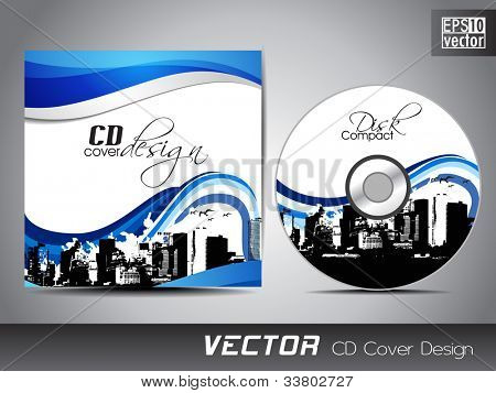 CD cover presentation design template, copy space and wave effect with urban city silhouette, editable EPS10 vector illustration.