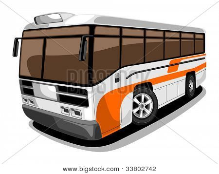 Front and side view of public transport Bus in orange and grey color, isolated on white background.