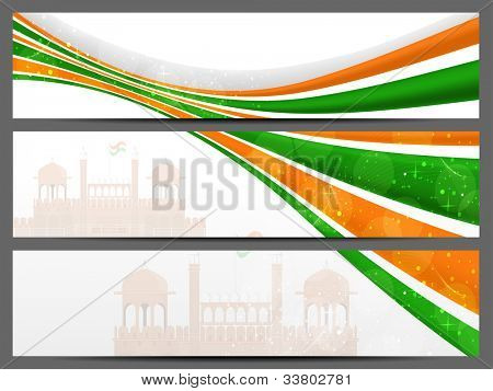Website header and banner with seamless Red Fort image and Indian tricolor wave background.EPS 10.