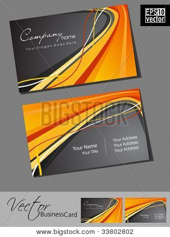 Abstract professional and designer business card template or visiting card set with grey and orange color wave pattern. EPS 10. Vector illustration.