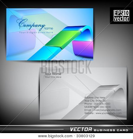 Abstract professional and designer business card template or visiting card set with colorful glossy abstract line pattern. EPS 10. Vector illustration.