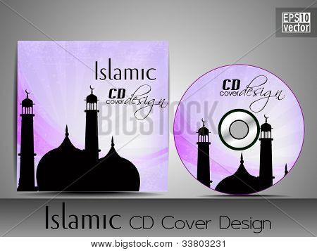 Islamic CD cover design with Mosque or Masjid silhouette with purple color grungy rays pattern. EPS 10. Vector illustration.