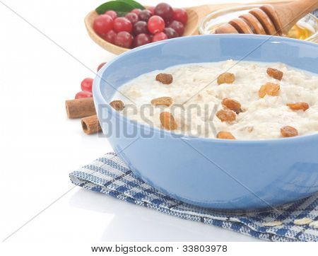 oatmeal and milk isolated on white background