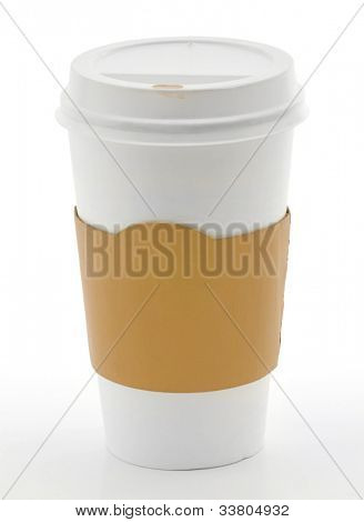 Paper coffee cup with safety cardboard collar on white background