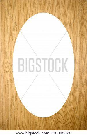 Isolated White Oval On Wood Imitation Background