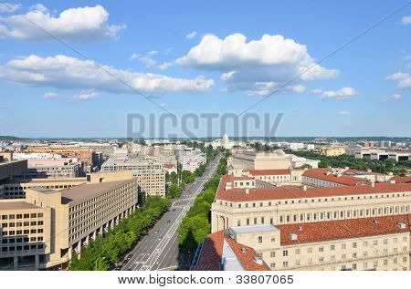 Washington DC - Aerial view of Pennsylvania street with federal buildings including FBI Building, Archives building, Department of Justice and US Capitol
