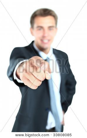 Portrait of business man pointing at you