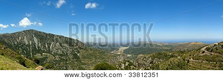 Panoramic View From Road To Lasithi Plateau