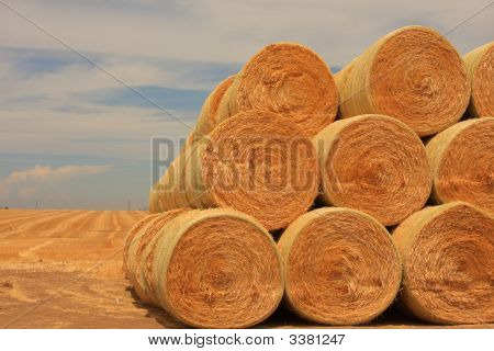 Stack Up Round Bales Of Hay