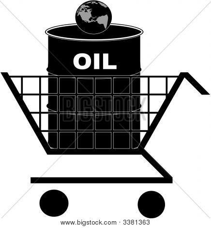 Shopping Cart With Oil Barrel And Earth.