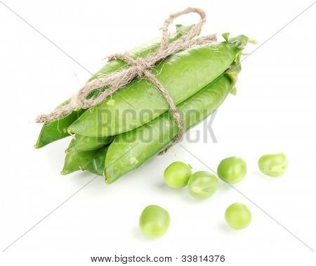 Green peas tied with rope isolated on white