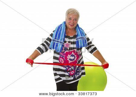 Female Senior Woman Exercises