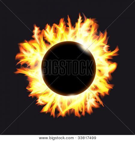 Solar eclipse. Frame of solar protuberances on a dark background.