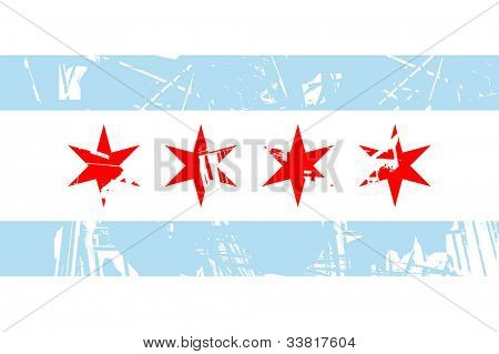 Chicago city flag, state of Louisiana, U.S.A, grunge effect.