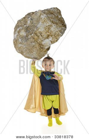 A tiny superhero lifting a huge rock with one hand.  On a white background.