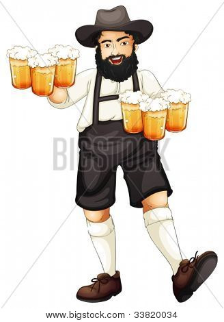 Illustration of a Bavarian man at oktoberfest