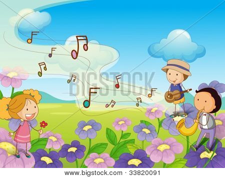 Illustration of musical kids