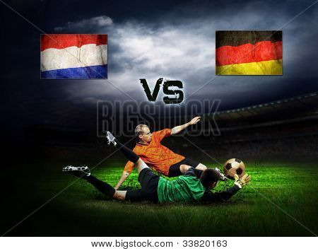 Friendly soccer match between Germany and Holland