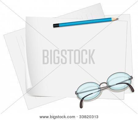 Illustration of glasses and paper on white
