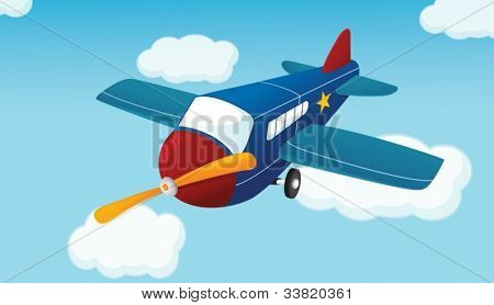 Illustration of a plane in the air