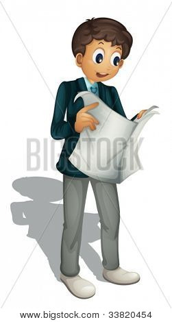 Illustration of an animated business man on white