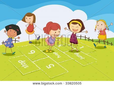 Illustration of kids playing hopscotch