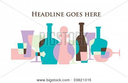 vector of stylized wine bottle and glass icons