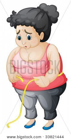illustration of a worried fat woman - EPS VECTOR format also available in my portfolio.
